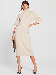 v-by-very-cowl-neck-blouson-sleeve-knitted-midi-dress-oatmeal
