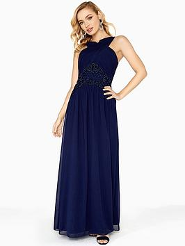 Discount Best Seller Mistress Detail Navy Embellished  Waist Maxi Little Dress Buy Cheap Amazing Price Newest Online Wholesale Quality The Cheapest For Sale ZFPu0XQ