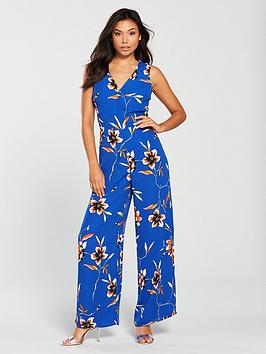 v-by-very-printed-wrap-jumpsuit-blue