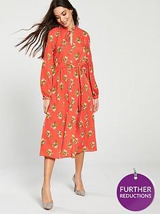 v-by-very-tie-waist-dress-printed