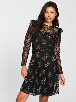 v-by-very-printed-lace-skater-dress-black