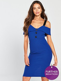 v-by-very-button-front-cold-shoulder-bodycon-dress-blue