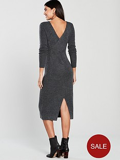 v-by-very-cross-over-neck-rib-midi-knitted-dress-charcoal-grey