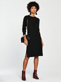 v-by-very-crew-neck-rib-sleeve-slouch-knitted-jumper-dress-blacknbsp