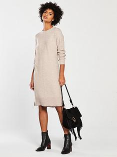 v-by-very-crew-neck-rib-sleeve-slouch-knitted-jumper-dress-mink