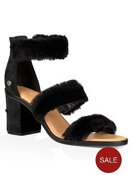 ugg-del-rey-fluffy-heeled-sandal-black