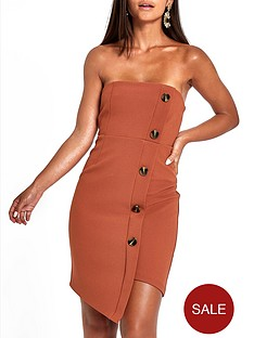 ri-petite-button-through-bodycon-midi-dress--nbspbrown