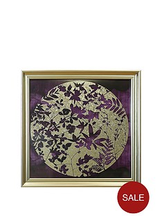arthouse-purple-and-gold-foil-leaves-framed-print-on-glass