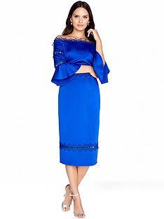 little-mistress-bardot-flute-sleeve-midi-dress-cobalt