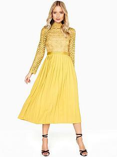 little-mistress-crochet-top-pleated-midi-dress-mustard
