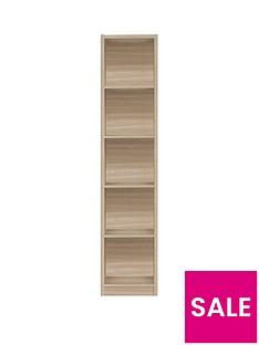 home-essentials--nbspmetro-tall-half-width-bookcase-oak-effect