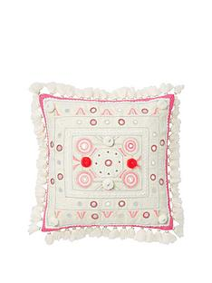monsoon-coral-pom-pom-embroidered-cushion