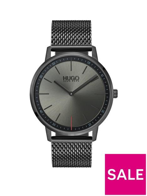 hugo-exist-grey-2-hand-dial-with-grey-ip-stainless-steel-mesh-bracelet-mens-watch