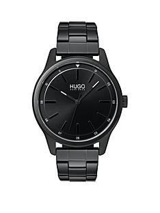 hugo-hugo-dare-black-3-hand-dial-with-black-ip-stainless-steel-bracelet-mens-watch