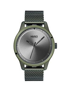 hugo-hugo-move-grey-3-hand-dial-with-olive-ip-mesh-bracelet-mens-watch