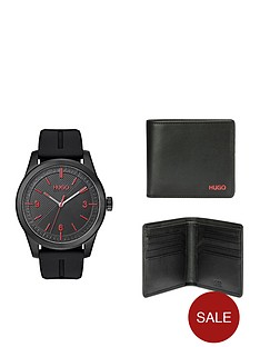 hugo-black-silicone-strap-mens-watch-and-black-leather-wallet-gift-set