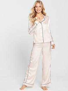 997379672f V by Very Jacquard Wide Leg Satin Pyjama Set - Cream
