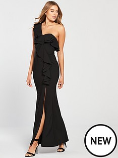 little-mistress-one-shoulder-frill-detail-maxi-dress-black
