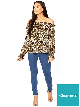 3f40e339af1166 Sistaglam Loves Jessica Off The Shoulder Animal Print Blouse - Printed
