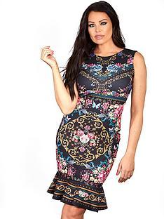 01ab6680c0d9 Sistaglam Loves Jessica Scarf Print Bodycon Dress - Multi