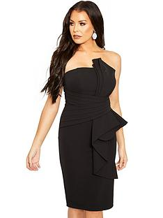 96b11c73cad1 Sistaglam Loves Jessica Bardot Knot Front Midi Dress - Black