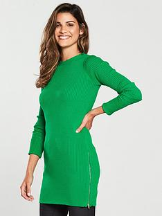 v-by-very-zip-side-skinny-rib-longline-jumper-green