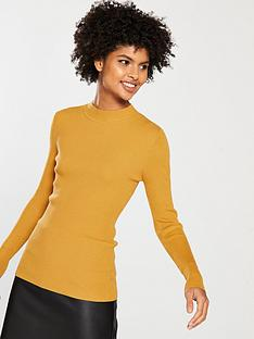 v-by-very-skinny-rib-turtleneck-jumper-mustard