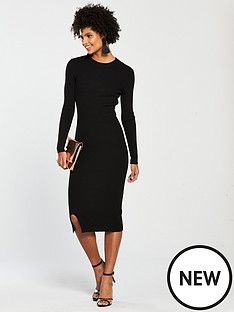 2bddc22105d V by Very Skinny Rib Split Hem Knitted Midi Dress - Black