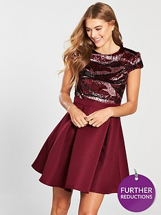 little-mistress-sequin-top-skater-mini-dress-crimsonnbsp