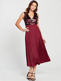 1154cad6426f3 Little Mistress Sequin Top Pleated Midi Dress - Crimson