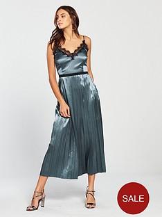 e69c4d5c95dbe Little Mistress Strappy Lace Trim Pleated Midi Dress - Slate