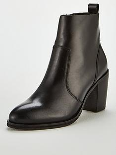 OFFICE Aberdeen Leather Ankle Heeled Boots - Black 1977fea359a
