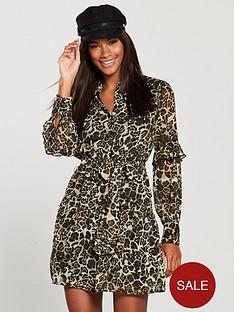 v-by-very-tie-waist-printed-ruffle-shirt-dress-leopard