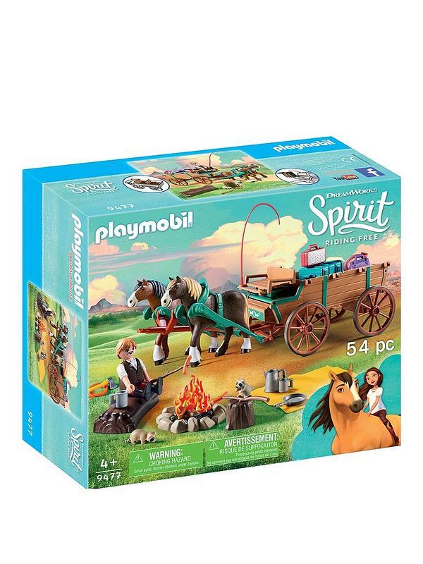 DREAMWORKS SPIRIT 9477 Lucky Papa et wagon PLAYMOBIL