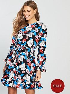 v-by-very-floral-tie-waist-skater-dress-printednbsp