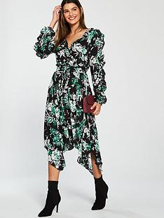 bf0c9c4f3c V by Very Split Sleeve Wrap Dress - Printed
