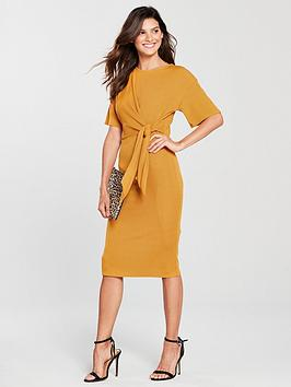 Dress Island Ribbed Tie Island Midi River Ochre River Detail Buy For Sale Outlet Locations XcNgTRwfK