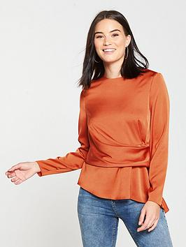 6cde7512d841f V By Very Satin Asymmetric Front Blouse Burnt Orange