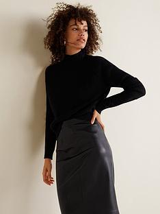 mango-pu-pencil-skirt-black