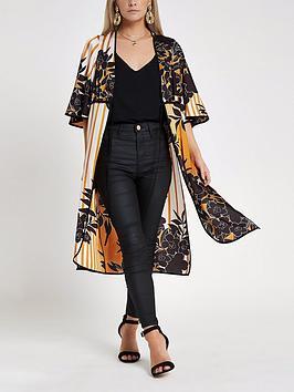Floral Orange  Print Blouse Kimono Petite RI Cheap Low Cost s7Kfvd5y