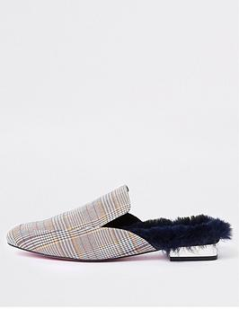 Backless  Island Check Grey Mules River Print Clearance Discount Sale Wiki Official Site Cheap Price Free Shipping Wholesale Price brJW61rMG
