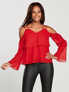 v-by-very-ruffled-cold-shoulder-layered-blouse-red