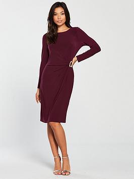 wallis-ring-detail-ruched-side-dress