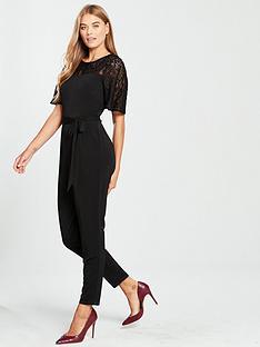 d4058b89d1 Wallis Lace Yoke Jumpsuit - Black