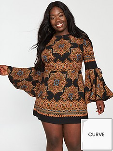 ax-paris-curve-bell-sleeve-dress-printed