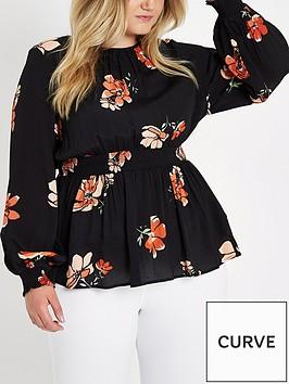 ri-plus-shirred-waist-print-top-black