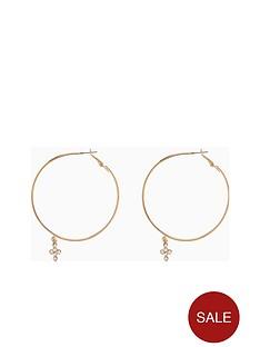 v-by-very-arlow-crystal-cross-charm-hoop-earrings-gold