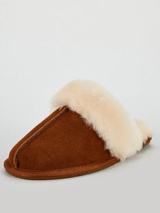 5658e4785f0a V by Very Whistle Real Suede Sheepskin Mule Slippers With Gift Box -  Brown White