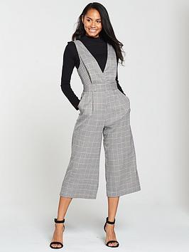 7180c86e35 Miss Selfridge Check Pinny Jumpsuit - Grey