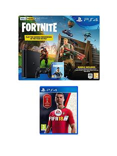 playstation-4-ps4-500gb-black-console-with-fortnite-royal-bomber-skin-and-500-v-bucks-with-fifa-18-plus-optional-extra-controller-andor-365-day-psn-subscription